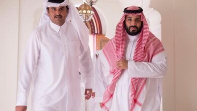 صورة لقاء بين محمد بن سلمان و امير قطر الان