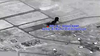 صورة تنشر لأول مرة | لحظة سقوط صواريخ باليستية على قاعدة عين الأسد الأمريكية