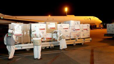 صورة طائرة مساعدات طبية امراتية تصل دمشق للتصدي ل كورونا