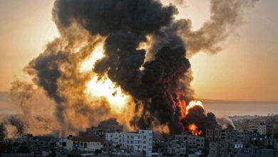 صورة استهداف طيران الاحتلال منزل لعائلة اسليم بحي الصبرة بقطاع #غزة